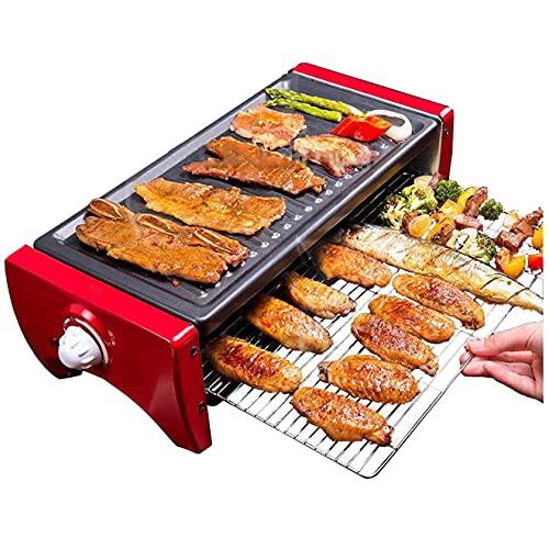 N/Z Home Equipment 1350W Parrilla eléctrica sin Humo para raclette, Doble Capa, Antiadherente, Barbacoa, sartén para Asar, Mini Barbacoa, Estufa, máquina tostadora (tamaño: 1350W)