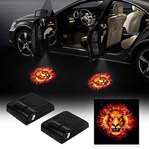 Proyector de luz para coche, 2 unidades, luz de sombra para la puerta del coche, universal, inalámbrico, magnético, inalámbrico, con sensor magnético para la puerta del coche (modelo 5)