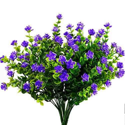 Ymwave 4 Stücke Künstliche Sträucher Künstliche Pflanze Kunststoff Milan Gras Blumen Simulation Pflanzen Grün für Küche Garten Badezimmer Fensterbank Ornament - Lila