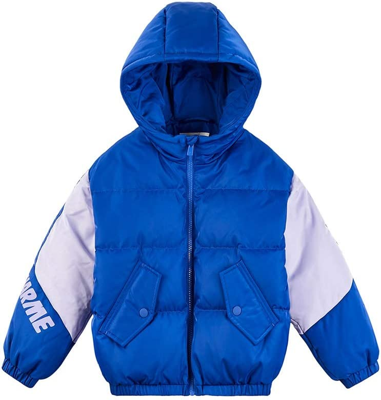 Warm Clothes Boy's Zip Off Water Resistant Light Outdoor Puffer Jacket Kids Puffer Jacket with Hood Parkas for Girls Universal (Color : Blue|,| Size : XX-Large)