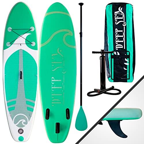 Deep Sea Standup Paddle Gonflable Set Standard – avec Pompe, Pagaie, Sac de Transport, Kit de réparation, Dropstich matériel – 275x76x12 cm Max 95 kg