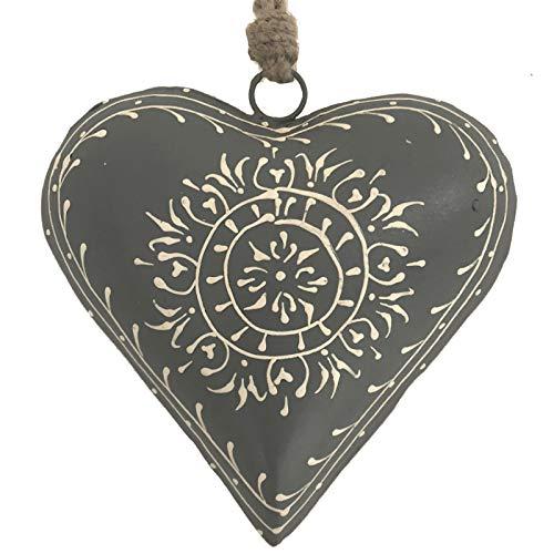 L'ORIGINALE DECO Grand Cœur à Suspendre en Métal Fer Patiné Gris 15 cm x 15 cm