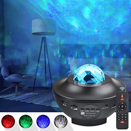 UOUNE sternenhimmel Projektor, Led sternenprojektor Lampe Starry/Wasserwellen/Bluetooth Lautsprecher Perfekt für Party