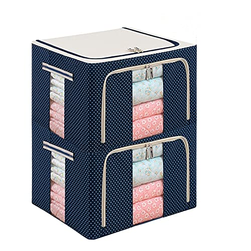 Edredón Ropa Manta Almohada Zapatos Caja de almacenamiento Soporte Contenedor Organizador Ventana Transparente doble cremallera Plegable Resistente al agua (Paquete de 2, 55L, Azul)