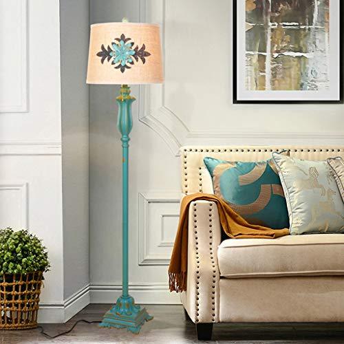 QTDH antieke staande lamp met bijzettafel, klassieke kunst, staande leeslamp, hoge paal taak verlichting voor woonkamer en kantoor