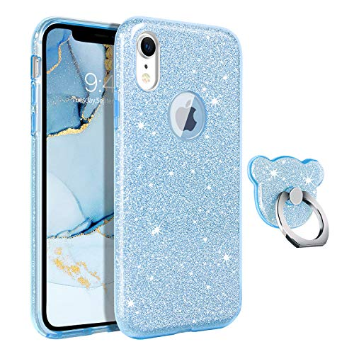 GUAGUA iPhone XR Case Glitter Sparkle Bling Shiny Cute Hybrid Cover for Girls Women with Extra Finger Ring Kickstand Luxury Slim Shockproof Protective Phone Cases for iPhone XR 6.1-inch 2018 Blue