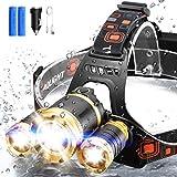 ERAY Lampada Frontale a LED Ricaricabile, 6000 Lumen / IPX4 / 3 LED / 4 modalità di Illuminazione/Cavo USB/Caricatore per Auto, Lampada Frontale a LED Ideale per Escursioni, Campeggio, Corsa
