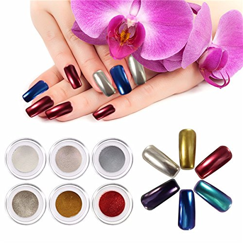 6 Kleuren Spiegel Chrome Poeder Metallic Effect Nagel Art Set met Primer Top Coat Additive Pigment