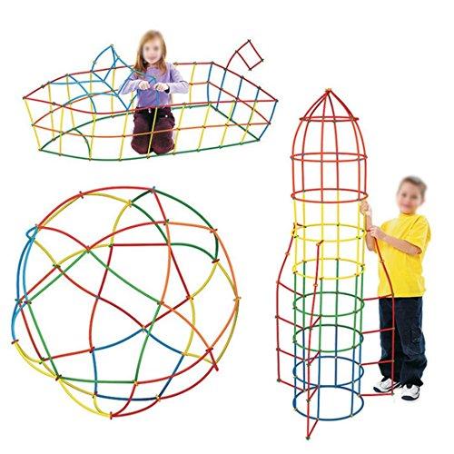 Millya Konstruktionspielzeug für Kinder–400Stück Kunststoffröhrchen und Bausteine