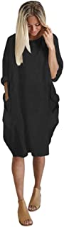 for Summer Dress Womens Long Tops Pocket Loose Dress Ladies Crew Neck Casual Dress Plus Size