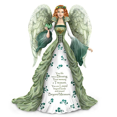 The Hamilton Collection Thomas Kinkade Irish Inspired Bereavement Angel Figurine with Green Faux Gem