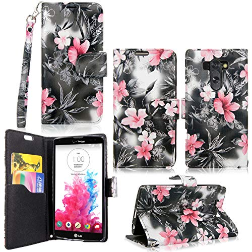 LG G Vista Case-Cellularvilla Pu Leather Wallet Card Flip Open Pocket Case Cover Pouch for LG G Vista VS880 (Verizon/AT&T) (Black Pink Flower)