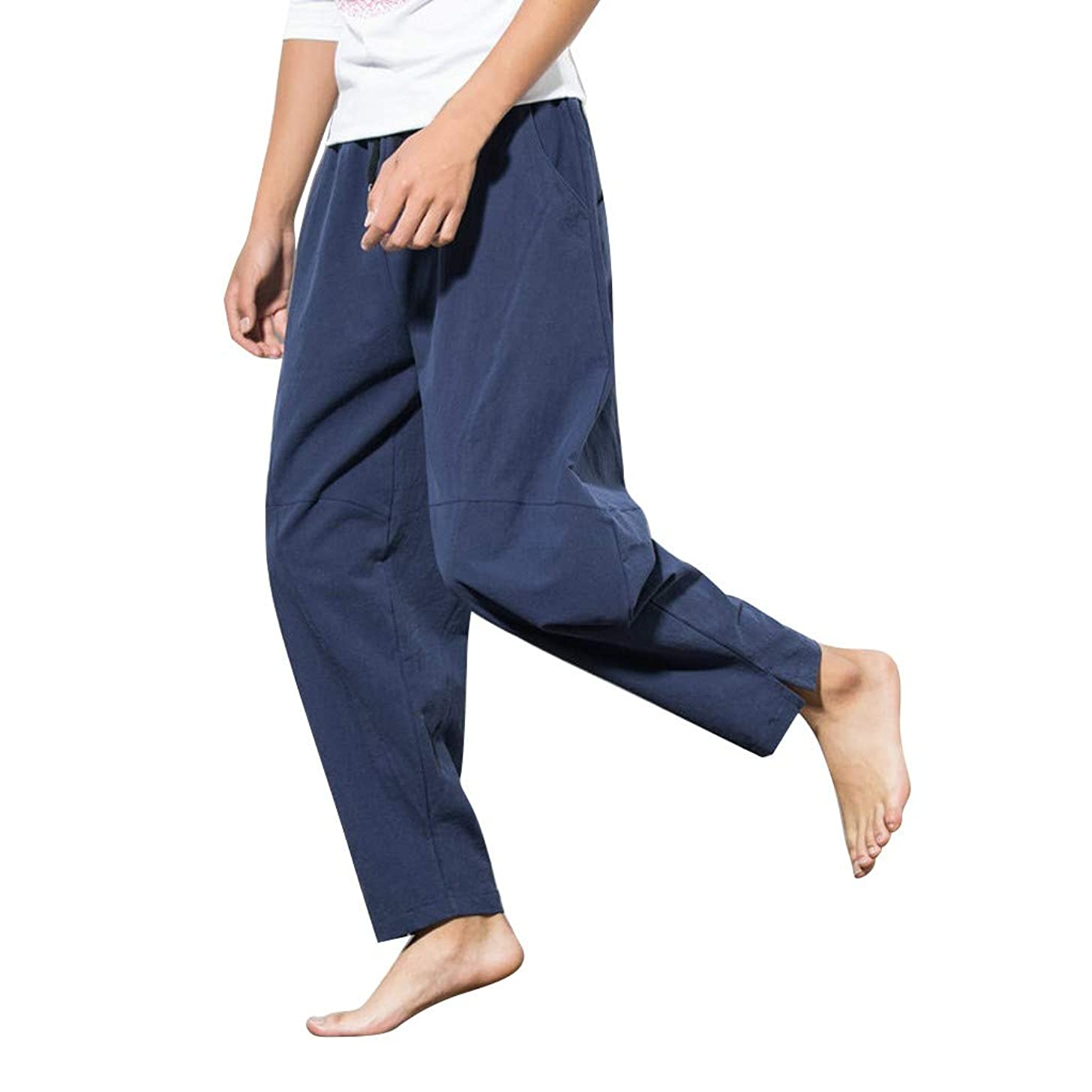 Sunyastor Men's Casual Pants, Drawstring Loose Baggy Linen Capri Harem Pants Crop Yoga Wide-Legged Pants with Pockets