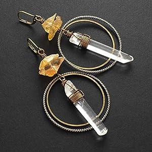 Citrine Clear Quartz Point Bohemian Mixed-Metal Earrings