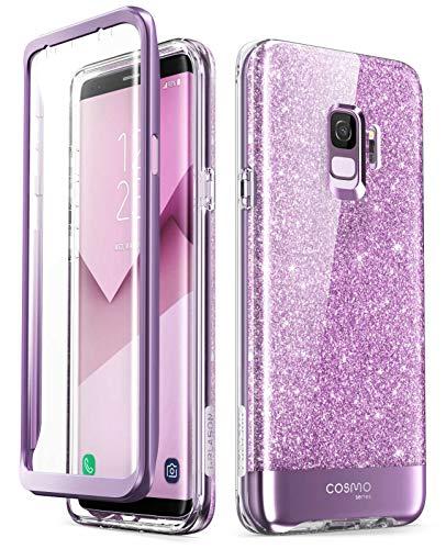 i-Blason Hülle Kompatibel für Samsung Galaxy S9 Glitzer 360 Grad Handyhülle Bumper Hülle Glänzend Schutzhülle Full Cover [Cosmo] mit integriertem Bildschirmschutz, Lila
