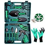Gardening Tools Set - Portable 14 Pieces Garden Hand Tool Sets, Gardening Gifts Gardener Supplies with Storage Box, Pruners, Rake, Shovel, Trowel, Sprayer, Gloves for Women Men Kids