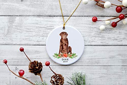 DKISEE Aangepaste Chocolade Labrador Kerstmis Keramiek Ornament Gepersonaliseerde Hond Keramiek Ornament Huisdier Liefhebbers Gift Voor Kerstmis Keepsake Gift Labrador Lover Gift 3.1 inch