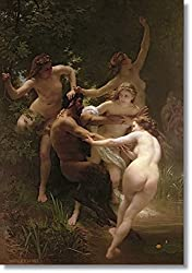 Nymphs and Saytr by William Bouguereau Hand Made Reproduction on Canvas