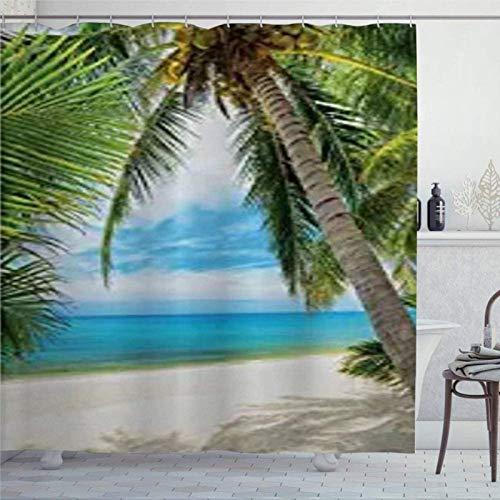 959 Cortina de ducha, sombra de océano, palmera de coco, con imagen de arena blanca, cortina de ducha con anillos, tela de poliéster, con ganchos, decoración de baño