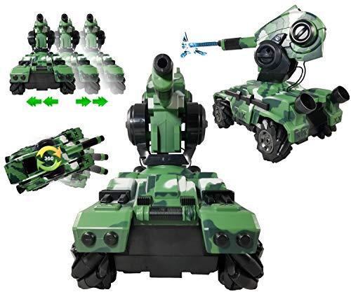 CIS-Associates Mech King X1 RC Tank That Shoots Water Bullets Remote Control Drift Stunt Tank with Gel Ball Blaster Gun Cannon, Camo Green (CS043353-G)