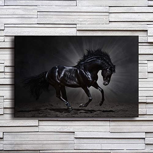 NIMCG Cuadro en Lienzo decoración para el hogar Marco Caballo Negro Corriendo Cartel Sala de Estar impresión Animal Imagen Corredor Pared (sin Marco) R1 40x50 cm
