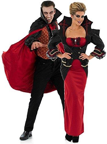Fancy Me Paar Damen und Herren Vampir passend Halloween Kostüm Verkleidung Outfit UK 8-30 Übergröße & Herren M-XL - Rot/schwarz, Rot/schwarz, Ladies UK 12-14 & Mens Medium