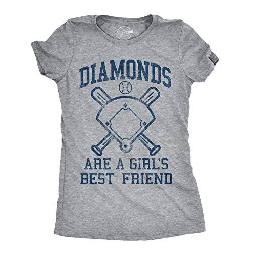 Crazy Dog T-Shirts Womens Diamonds are A Girls Best Friend Tshirt Funny Cute Baseball for Ladies (Heather Grey) - L
