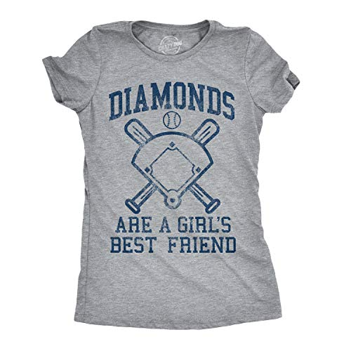 Womens Diamonds are A Girls Best Friend Tshirt Funny Cute Baseball for Ladies (Heather Grey) - XL