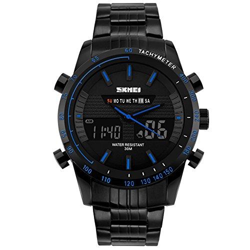 VICVIO Orologio da uomo Militare al quarzo con digitale e analogico, Cinturino in acciaio INOX Nero, con Allarme Impermeabile Cronometro ( blu )