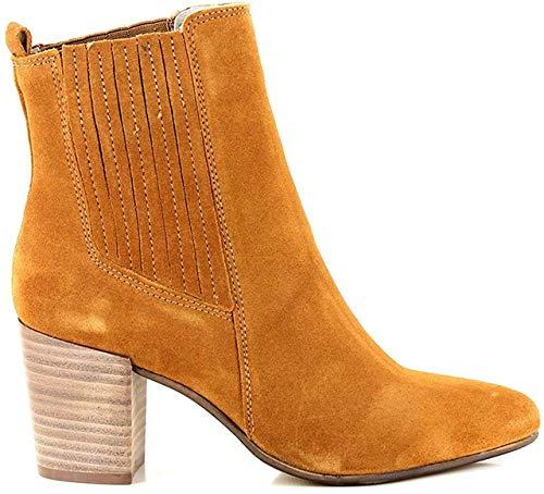 BULLBOXER Damen Stiefeletten, Frauen Chelsea Boots, weibliche Ladies feminin elegant Women's Women Woman Freizeit leger Stiefel,Kamel,38 EU / 5 UK