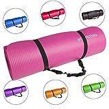 KG Physio Tapis de Yoga Antidérapant (1cm), Qualité Premium Tapis de Sol Fitness pour la Salle de Sport, Pilates ou à la Maison avec Bandoulière (à l'intérieur du Tapis) 183cm x 60cm x 1cm (épais)