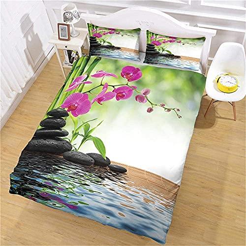 Funda nórdica 260x240 Zen Flores Hojas de bambú Piedras Impresas 100% poliéster Juego de Cama Juegos de Cama para Dormitorio de niños Adultos, más tamaño Grande