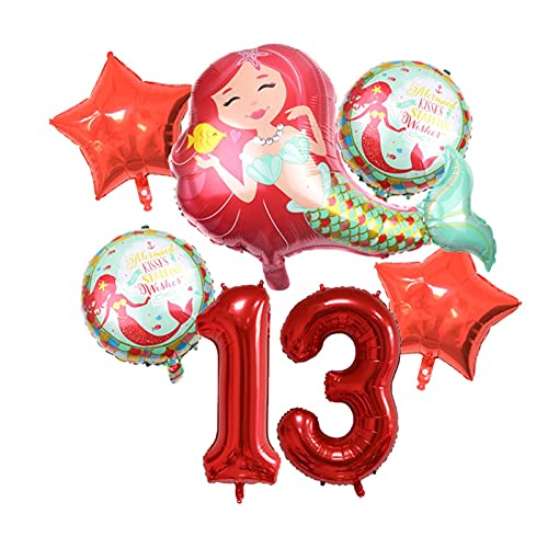 XIAOZSM Globos Globos de lámina de sirpea púrpura roja con número de dígitos de 40 Pulgadas Helio Globo Dibujos Animados Globos Decoraciones de Fiesta de cumpleaños niños o Adultos ( Farbe : Red 13 )