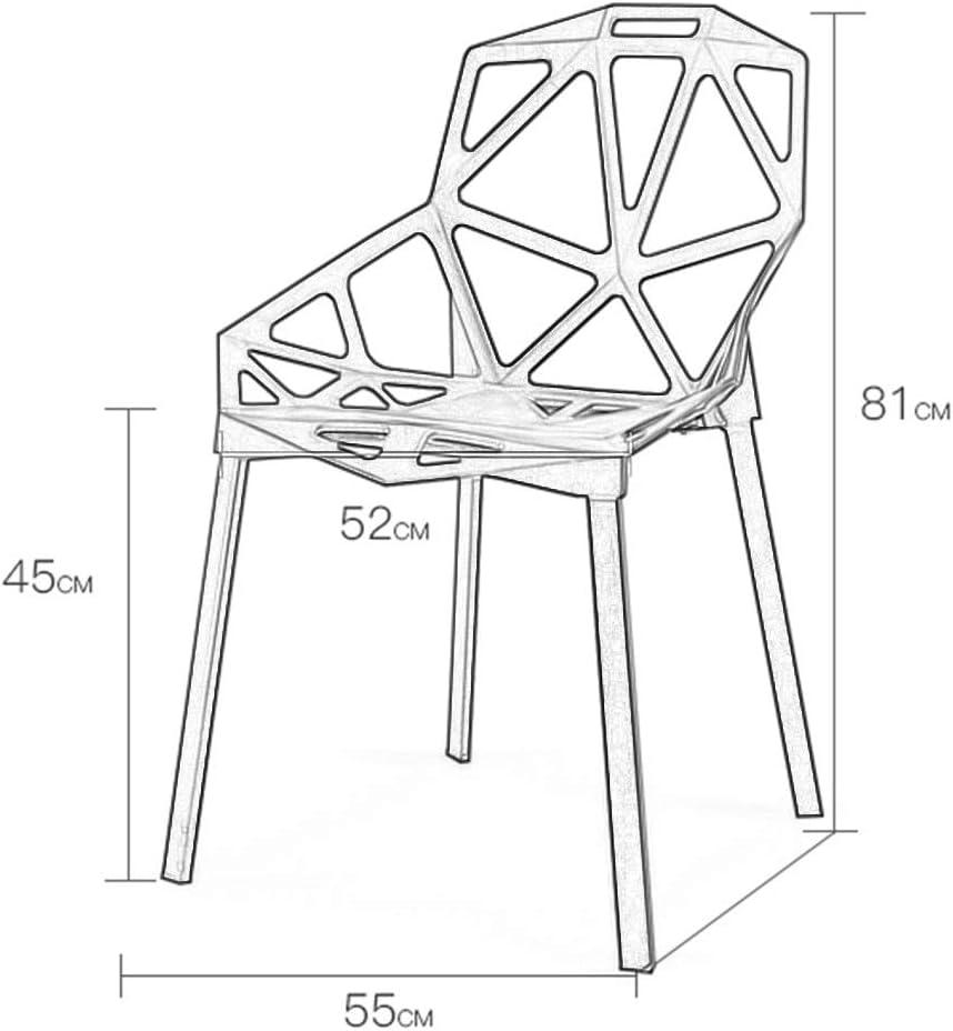 TONG YUE SHOP Chaise Nordique Chaise arrière Chaise Creuse créative géométrie Chaise Moderne Minimaliste Paresseux en Plastique Chaise de Salle à Manger (Color : Black) Yellow