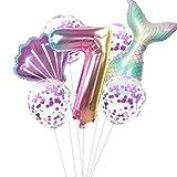 Haosell Globo de sirena grande para 7 años, decoración de cumpleaños infantil, multicolor, globo de sirena – 1 globo XXL con forma de sirena + número 7 números + 1 cuenco + 4 globos de confeti