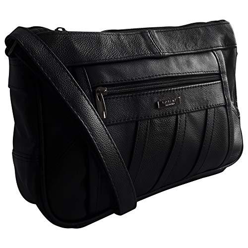 Damen-Designertasche, echtes Leder, Cross-Body, Schultertasche, schwarz
