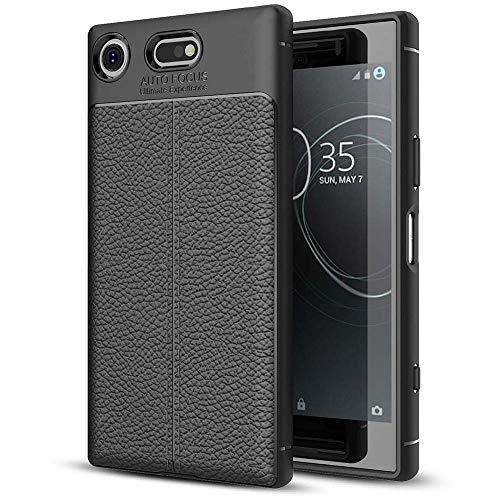 NALIA Leder-Look Hülle kompatibel mit Sony Xperia XZ1 Compact, Ultra-Slim Silikon Case Cover, Dünne Phone Schutzhülle Etui Handyhülle Handy-Tasche Backcover Bumper TPU Smartphone Gummihülle - Schwarz