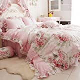 FADFAY 4 Piece Home Textile Floral Print Duvet Cover Bedding Set for Girls, Full...