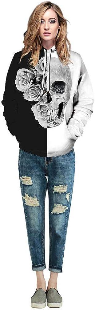 Arlington Mall ZTIANEF Skull Flower Unisex Long Hoodies Funny 3D Sleeve Print Cheap SALE Start