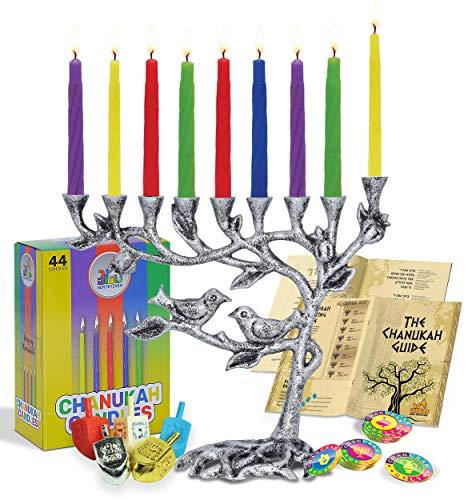 Ner Mitzvah Tree of Life Menorah Set for Hanukkah - Antiqued Candle Menora Complete Set - Menorah, Candles, Dreidels, Play Coins, Chanukkah Guide