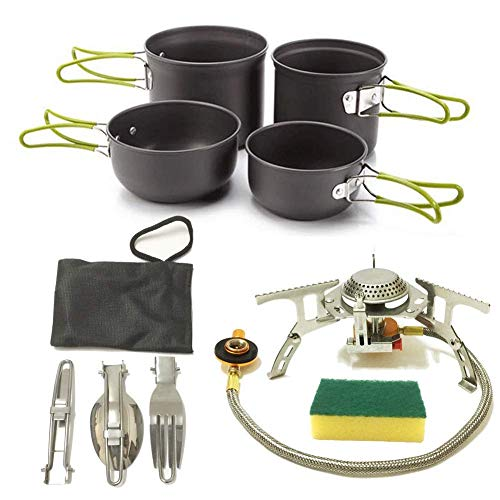 XHLLX Camping Cookware Cooking Set Mess Kit For 2 People, 2 Lightweight Pot Pan And Mini Stove, Fork Knife Spoon Kits For Backpacking, Outdoor Trekking