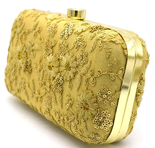 Tooba Women's Clutch (Gold Floral)