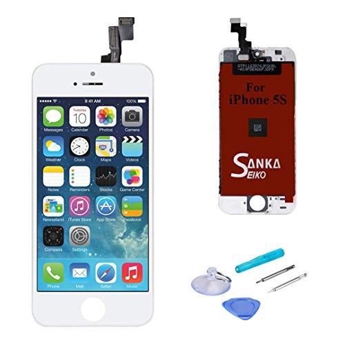 Sanka Ecran LCD pour iPhone 5S, Retina Tactile Écran Vitre Display Digitizer Kit de Réparation Complet - Blanc (Free Outils Inclus)
