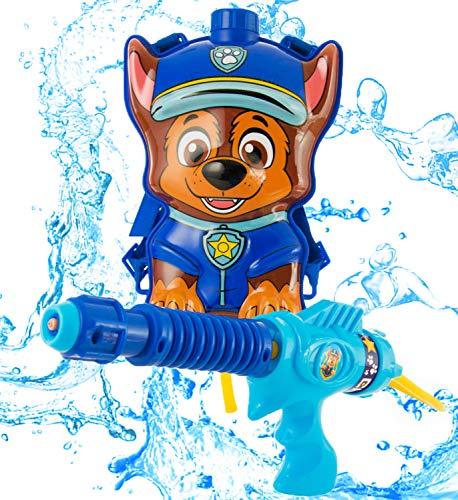 PAW PATROL Outdoor Spielzeug, Wasserpistole Spielzeug mit Tankrucksack, Outdoor Spiele für Draußen, Chase Spritzpistole Kinder mit Verstellbare Träger, Garten Spielzeug Geschenke