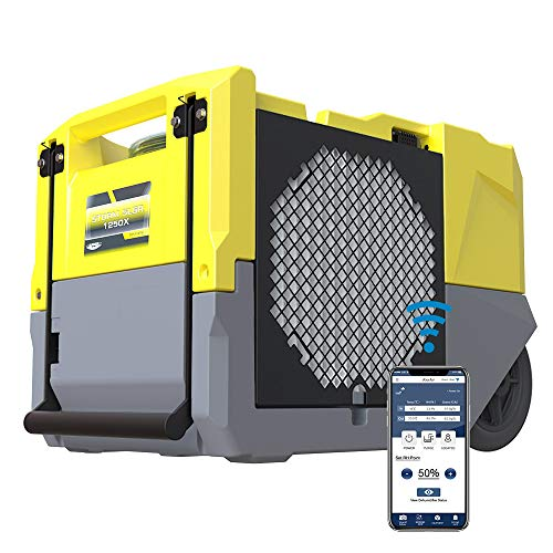 AlorAir Smart WiFi Dehumidifier, 125 PPD High Performance, Commercial Dehumidifier with Pump, Compact, Portable, Industrial dehumidifier for Disaster Restoration, Yellow