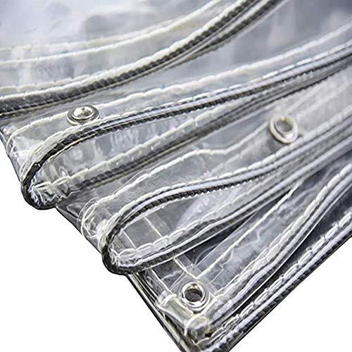 BAIYING Flugzeug Gewebeplane Transparent Vorhang Terrassenüberdachung Schatten Regenfestes Tuch PVC Hohe Temperaturbeständigkeit Metallknopf,16 Größen, Anpassbar (Color : Klar, Size : 2.4x3m)