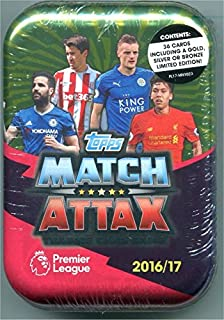 2016 / 2017 Topps Match Attax English Premier League Soccer Card Collectors Tin With 36 Cards Including a Gold, Silver or Bronze Limited Edition Card. USA Seller.