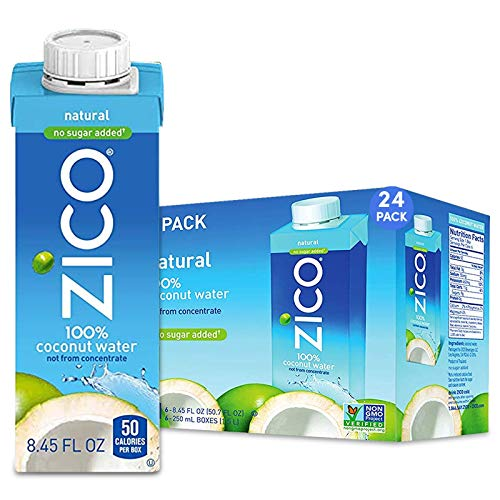 Zico Beverages Premium Natural Coconut Water Drinks, No Sugar Added Gluten Free, Pack of 24, 202.8 Fl Oz
