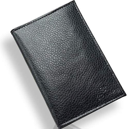 Lutin Porte Papier Voiture en Cuir - Organiseur- étui Carte Grise, permis, Carte d'identité, Cartes, très Complet, Cuir Souple pour Homme ou Femme (Noir)
