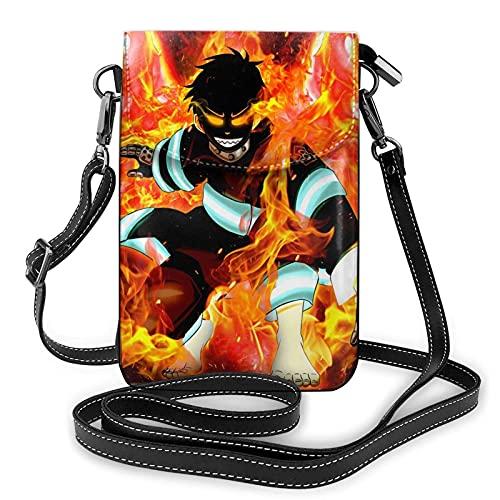 Anime Fire teléfono celular monedero pequeño bolso de la cartera de la célula para las mujeres pequeño bolso crossbody con correa de hombro bolso de caramelo